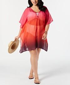 Lauren Ralph Lauren Plus Size Ombré Chiffon Tunic Cover-Up