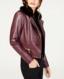 MICHAEL Michael Kors Removable Faux-Fur-Collar Moto Jacket in Regular & Petite Sizes