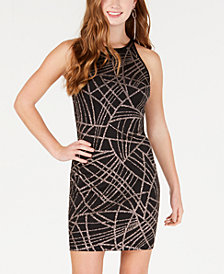 B Darlin Juniors' Glitter-Detailed Bodycon Dress
