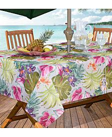 """Elrene Kona Tropics Indoor/Outdoor 60"""" x 84"""" Umbrella Zip Tablecloth"""