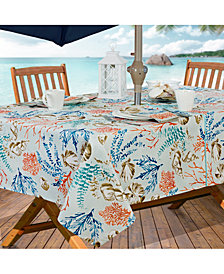 "Elrene Coastal Settings Indoor/Outdoor 60"" x 84"" Umbrella Zip Tablecloth"