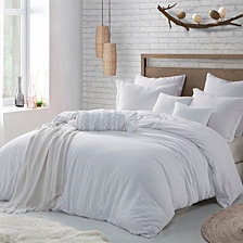 Microfiber Washed Crinkle Duvet Cover & Shams, 	Full/Queen