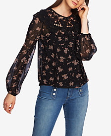1.STATE Floral-Print Lace Top