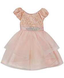 Rare Editions Baby Girls Blush Brocade Embellished Party Dress