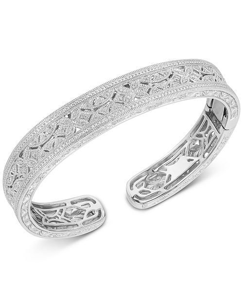 Macy's Diamond Engraved Bangle Bracelet (1/4 ct. t.w.) in Sterling Silver