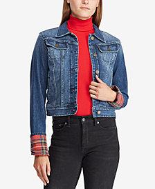 Lauren Ralph Lauren Tartan-Cuff Denim Jacket