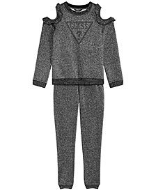GUESS Big Girls Metallic Fleece Sweatshirt & Jogger Pants