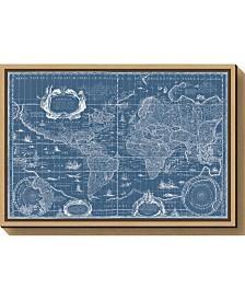 Amanti Art Blueprint World Map by Willem Blaeu Canvas Framed Art