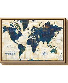 World Map Collage by Sue Schlabach Canvas Framed Art