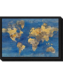 Golden World Map by Albena Hristova Canvas Framed Art