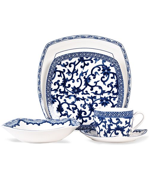 Lauren Ralph Dinnerware Mandarin Blue Square 5 Piece