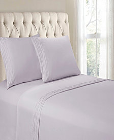 Hudson & Main Diamond Ruched Hem 4 Pieces Full Sheet Set