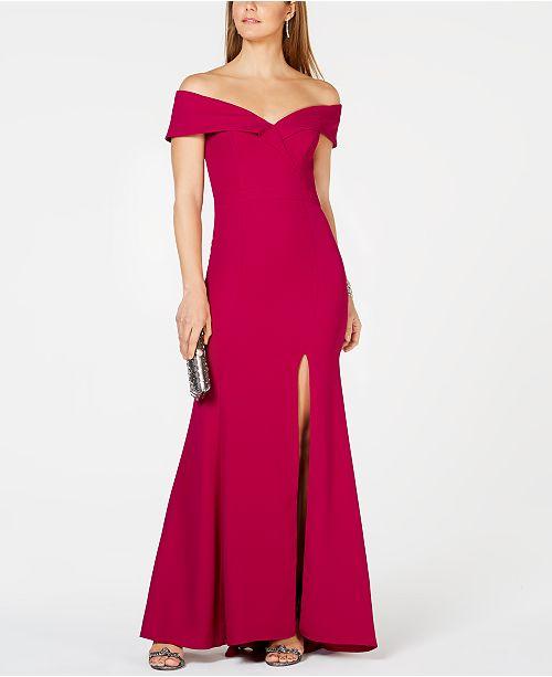 7946e4c5f5e85 XSCAPE Petite Off-The-Shoulder Crepe Gown & Reviews - Dresses ...