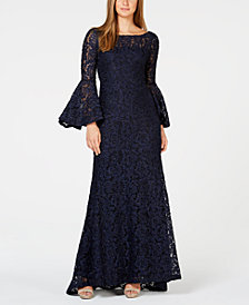 Calvin Klein Glitter Lace Bell-Sleeve Gown