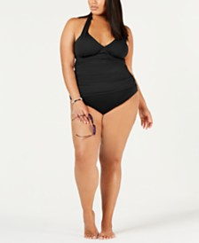 Lauren Ralph Lauren Plus Size Shirred Halter-Top Tankini & Solid Hipster Bikini Bottoms