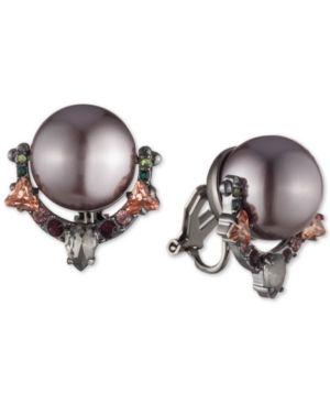 CAROLEE Hematite-Tone Crystal & Imitation Pearl Clip-On Door Knocker Earrings in Purple