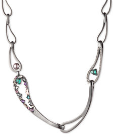 "Carolee Hematite-Tone Crystal & Imitation Pearl Link 17"" Collar Necklace"