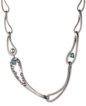 "CAROLEE Hematite-Tone Crystal & Imitation Pearl Link 17"" Collar Necklace in Multi"