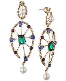 Carolee Gold-Tone Multi-Crystal & Freshwater Pearl (5-8mm) Statement Earrings