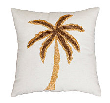 Natural and Gold Marley Palm Tree Beaded Pillow