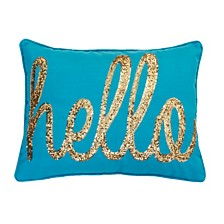"""Hello"" Sequin Script Faux Linen Pillow, 14"" x 18"""