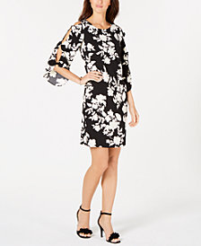 MSK Floral-Print Bow-Sleeve Sheath Dress