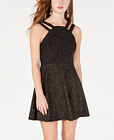 B Darlin Juniors' Allover Glitter Double-Strap Fit & Flare Dress