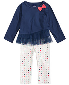 First Impressions Baby Girls Ruffle-Hem Tunic and Heart-Print Leggings Separates, Created for Macy's