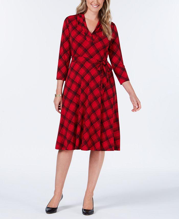 Charter Club - Plaid V-Neck Dress