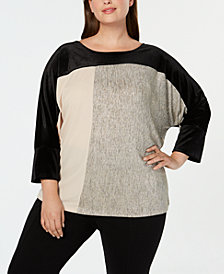 Calvin Klein Plus Size Colorblocked Mixed-Media Top