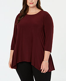 Anne Klein Plus Size High-Low Crew-Neck Top