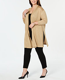 Anne Klein Plus Size Open Front Metallic Cardigan