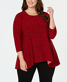 Anne Klein Plus Size Dot-Print Handkerchief-Hem Top