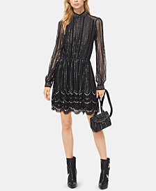 MICHAEL Michael Kors Metallic Embroidered Lace Dress
