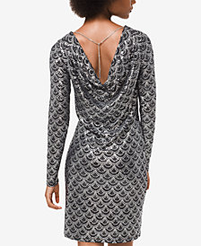 MICHAEL Michael Kors Metallic Cowl-Back Dress, in Regular and Petite Sizes