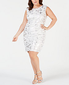 Jessica Howard Plus Size Textured Metallic Sheath Dress