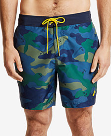 "Nautica Men's Camouflage-Print Quick-Dry 8"" Swim Trunks"