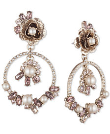 Marchesa Gold-Tone Crystal & Imitation Pearl Flower Orbital Drop Earrings
