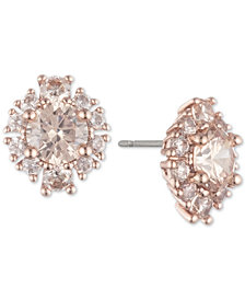 Marchesa Rose Gold-Tone Crystal Cluster Button Earrings