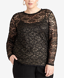 RACHEL Rachel Roy Trendy Plus Size Vivian Lace Top, Created for Macy's