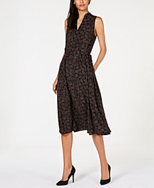 Anne Klein Printed Drawstring-Waist Dress