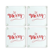 Cathys Concepts Be Merry Glass Coasters, Set of 4
