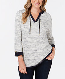 Charter Club Petite Contrast-Trim Split-Neck Top, Created for Macy's