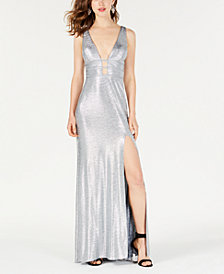 Blondie Nites Juniors' Metallic Cutout Gown