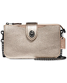 COACH Metallic Turnlock Crossbody in Pebble Leather