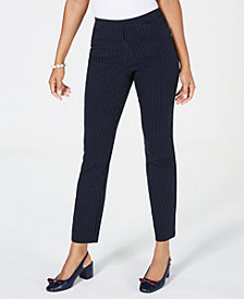 Charter Club Petite Pinstriped Pull-On Pants, Created for Macy's