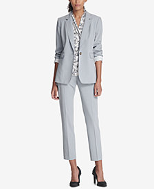 DKNY One-Button Jacket, Skinny Pants & Ruched Top, Created for Macy's