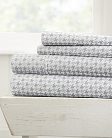 Home Collection Ultra Soft Hounds Tooth Pattern 4 Piece Bed Sheet Set
