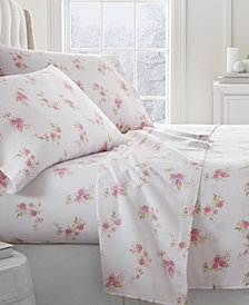 Home Collection Premium Rose Pattern 4 Piece Flannel Bed Sheet Set