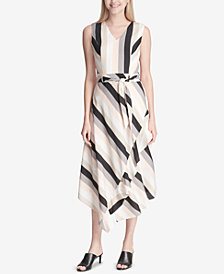 Calvin Klein Striped V-Neck Ruffled Midi Dress